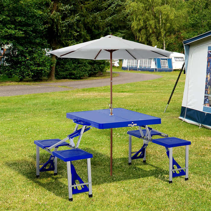 Out Sunny Plastic Portable Suitcase Picnic Table.