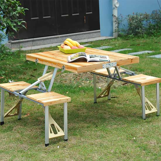 Out Sunny Plastic Portable Suitcase Picnic Table